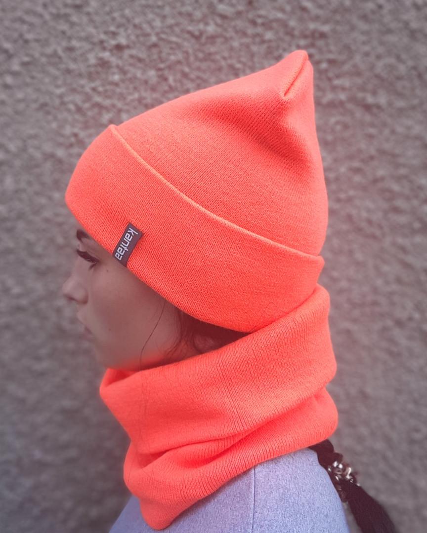 Шапка с Отворотом Вязаная - Лопата Комплект оранжевый неон
