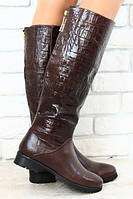 Шикарные сапоги без каблука коричневые