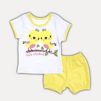"""Детский летний костюм для девочек шорты и футболка """"Цыпочки"""" - рост 74, 80, 86, 92, желтый, розовый, зеленый"""