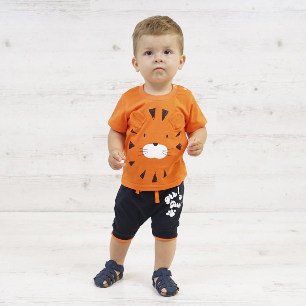 """Летний ясельный комплект для мальчика футболка и шорты """"Tiger"""" рост 80/86/92/98"""