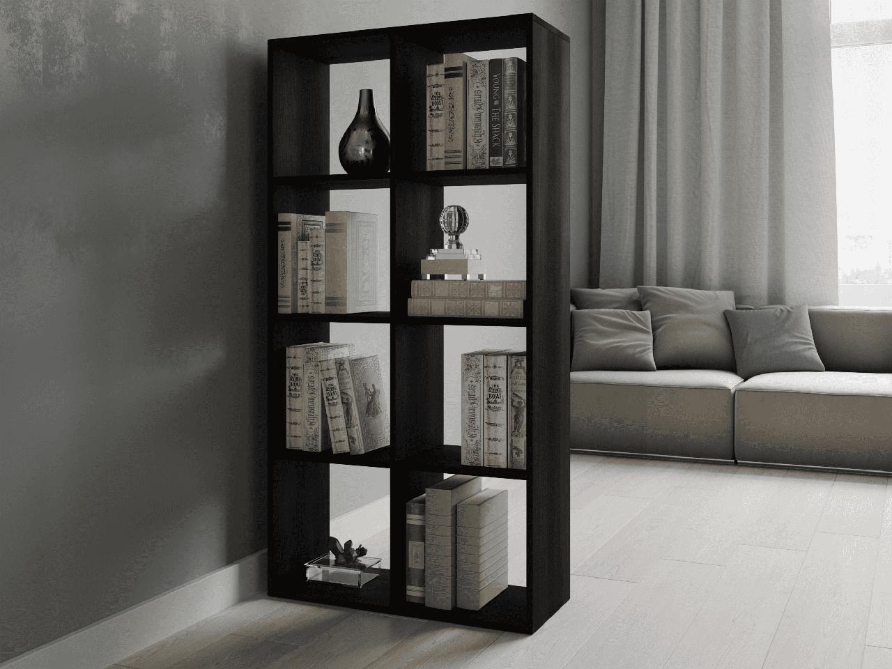 Полка - шкаф для книг, стеллаж для зонирования дома на 8 ячеек P0017