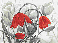 Тюльпаны ( монохром )  Схема полной вышивки бисером
