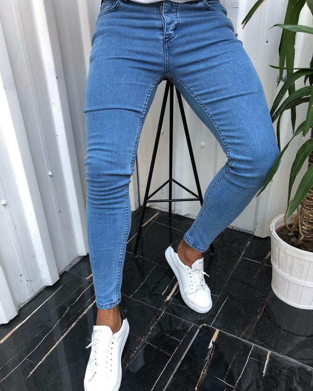 Мужские джинсы Skinny V0241 голубые