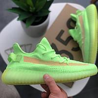 Кроссовки мужские Adidas Yeezy Boost 350 V2 Glow зеленые (салатовые) светятся (Top replic)