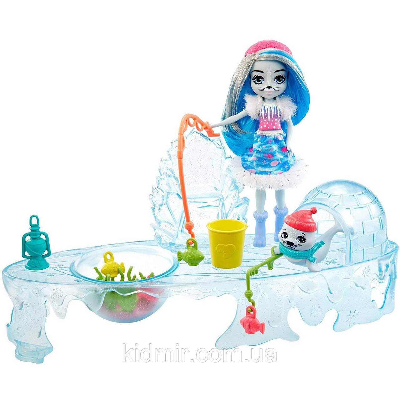 Набор Enchantimals Зимняя рыбалка с тюленями и кукла Саша тюлень GJX48