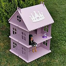 """Домик для кукол Woodmax """"Корона"""" 48х42х76 см фиолетово-розовый без мебели"""