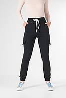 Брюки джоггеры женские приталенные из стрейч-котона, демисизонные черные штаны женские с карманами VS 1087, фото 1