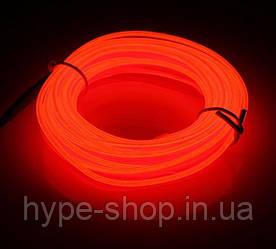 Гибкий светодиодный неон Красный Neon Glow Light  Red - 3 метра ленты на батарейках 2 AA