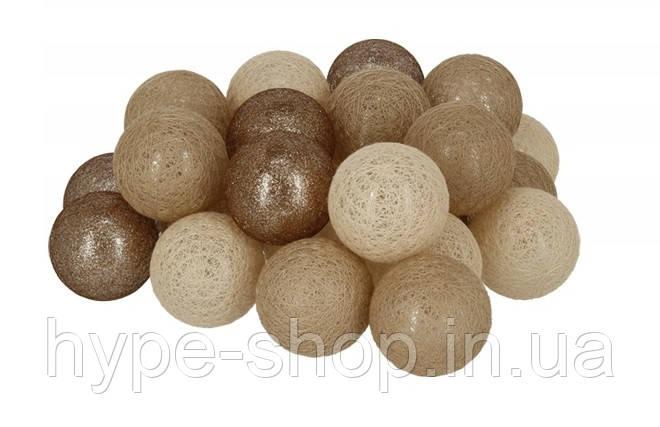 Гирлянда Тайские Шарики LTL Fame Cotton Balls 30led, диам 6см, длина 540см на батарейках АА
