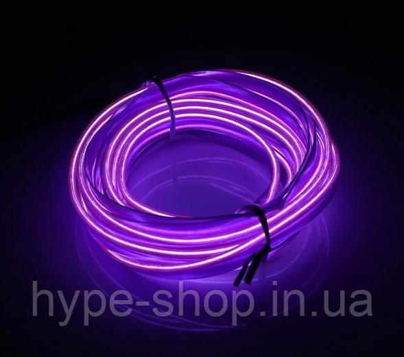 Гибкий светодиодный неон Фиолетовый Neon Glow Light Purple - 3 метра ленты на батарейках 2 AA