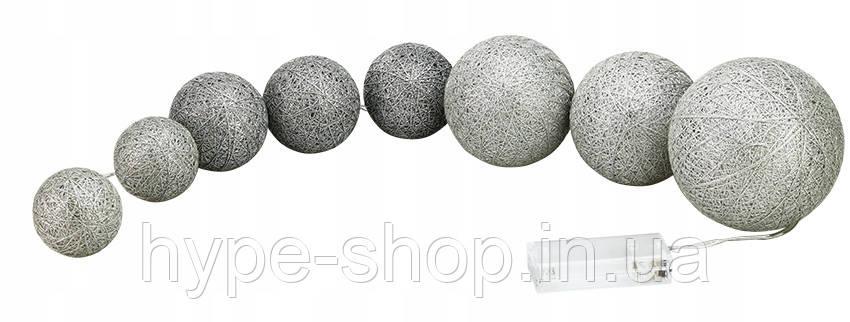 Гирлянда тайская  LTL Silver Cotton Balls 8led, длина 180см на батарейках АА