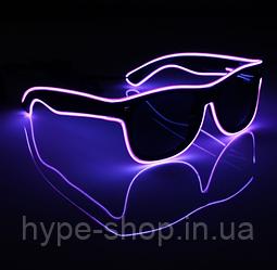 Очки светодиодные  солнцезащитные El Neon ray purple неоновые