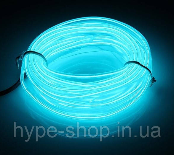 Гибкий светодиодный неон LTL Прозрачный синий Neon Glow Light Transparent - 3 метра ленты,  на батарейках 2 AA