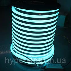 Двусторонняя LED неоновая излучающая лента LTL FLEX 8х16mm 120 LED 2835smd IP67 220v Sky blue