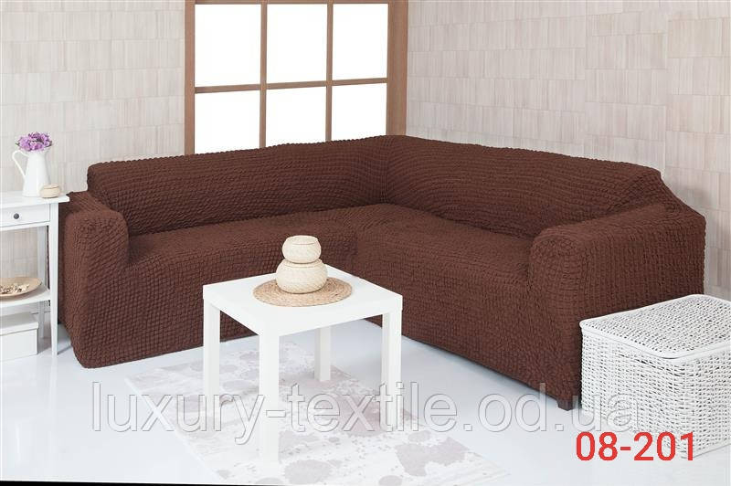 Чехол на угловой диван без оборки, натяжной, жатка-креш, универсальный, Concordia Коричневый