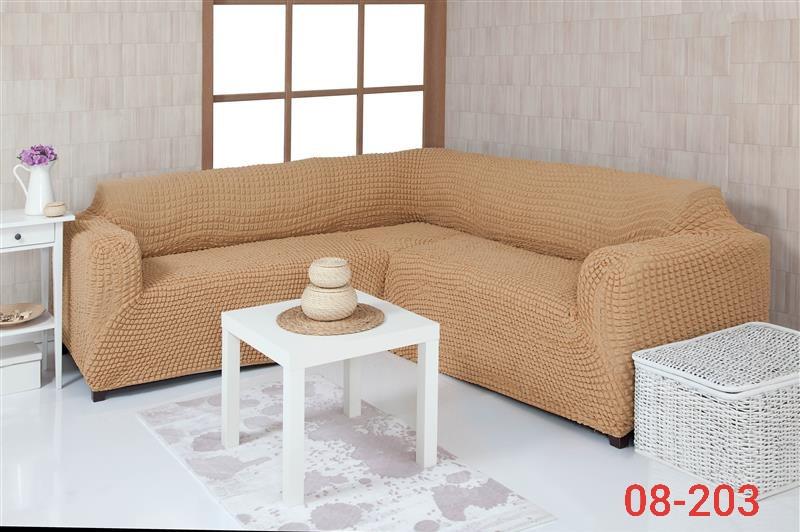 Чехол на угловой диван без оборки, натяжной, жатка-креш, универсальный, Concordia Персиковый Беж