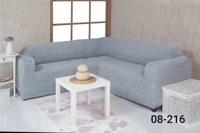 Чехол на угловой диван без оборки, натяжной, жатка-креш, универсальный, Concordia Серый