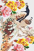 Павлины и пионы (белый фон) Схема полной зашивки бисером
