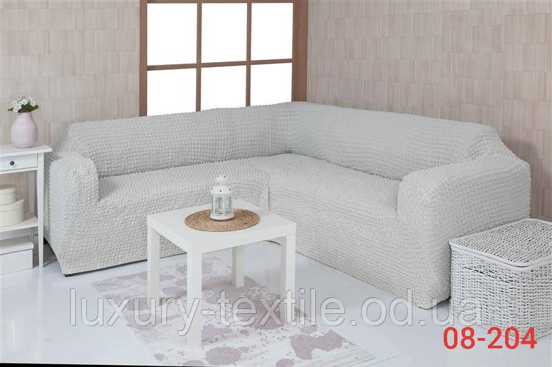 Чехол на угловой диван без оборки, натяжной, жатка-креш, универсальный, Concordia Кремовый