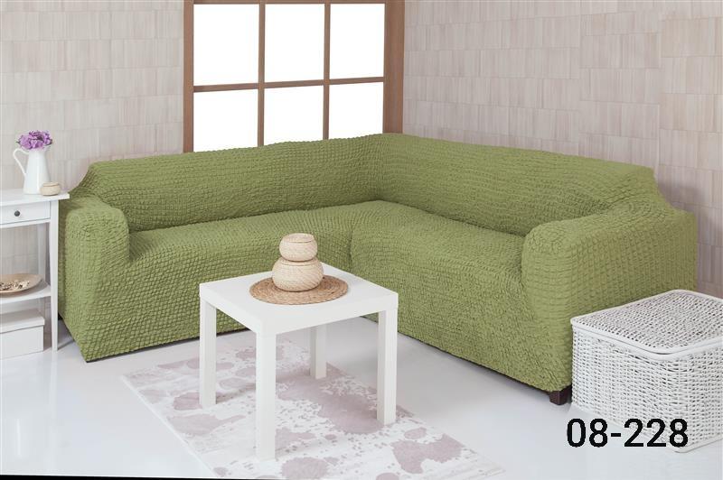 Чехол на угловой диван без оборки, натяжной, жатка-креш, универсальный, Concordia Фисташковый