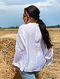 Жіноча блузка сорочка жатка+мереживо довгий рукав розміри:50-52.54-56.58-60, фото 2