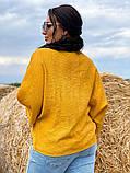 Жіноча блузка сорочка жатка+мереживо довгий рукав розміри:50-52.54-56.58-60, фото 4
