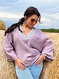 Жіноча блузка сорочка жатка+мереживо довгий рукав розміри:50-52.54-56.58-60, фото 5