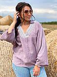 Жіноча блузка сорочка жатка+мереживо довгий рукав розміри:50-52.54-56.58-60, фото 3