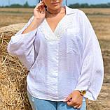 Жіноча блузка сорочка жатка+мереживо довгий рукав розміри:50-52.54-56.58-60, фото 6