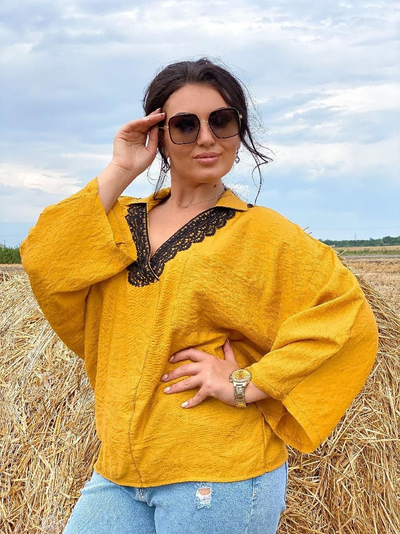 Жіноча блузка сорочка жатка+мереживо довгий рукав розміри:50-52.54-56.58-60