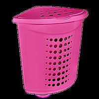 Корзина для белья угловая 45 л Розовая, КОД: 395432