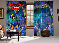Шторы с 3D принтом на тему: Леон и спиннер, комплект из 2-х штор Brawl Stars