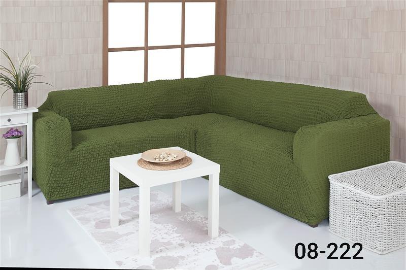 Чехол на угловой диван без оборки, натяжной, жатка-креш, универсальный, Concordia Зеленый