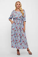 ✔️ Летнее платье сарафан Снежанна длинное с поясом большого размера 50-58 разные расцветки 50, Голубой, Штапель