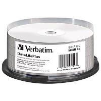 Диск BD-R Verbatim DL 50Gb 6x Cake 25 Printable (43749)