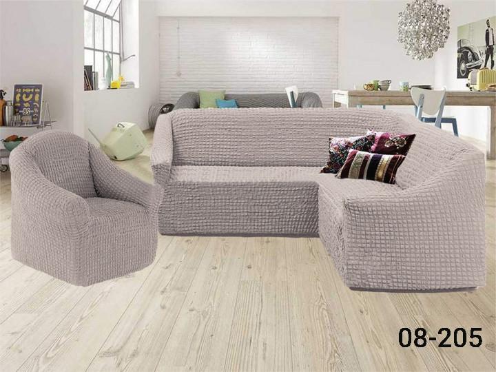 Чехол на угловой диван и кресло без оборки, натяжной, жатка-креш, универсальный Concordiа, Какао