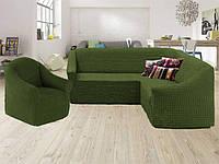 Чехол на угловой диван и кресло без оборки, натяжной, жатка-креш, универсальный Concordiа, Зеленый