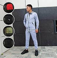 Мужской спортивный костюм Puma серого цвета (спортивный костюм Пума серый 90% хлопок весна/осень)