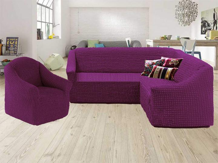 Чехол на угловой диван и кресло без оборки, натяжной, жатка-креш, универсальный Concordiа, Фиолетовый