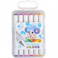 Фломастер двухсторонний 12 цветов для скетчинга JUMBO Art-Marker
