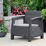 Набір садових меблів Corfu Rest Without Coffee Table Graphite ( графіт ) з штучного ротанга ( Keter ), фото 9
