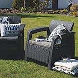 Набор садовой мебели Corfu Rest Without Coffee Table Graphite ( графит ) из искусственного ротанга, фото 2