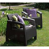 Набір садових меблів Corfu Rest Without Coffee Table Graphite ( графіт ) з штучного ротанга ( Keter ), фото 4