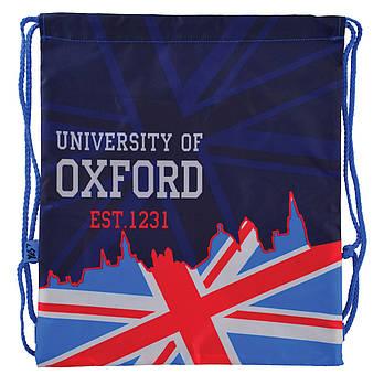 Детская сумка мешок для сменной обуви в школу с карманом на молнии YES Oxford 40х35см Синяя (556259)(5056137136216)