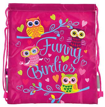 Детская сумка мешок для сменной обуви в школу с карманом на молнии YES Funny Birdies 40х35см Розовая (5056137136247)