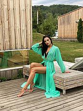 Пляжная туника-халат  с рукавами мята, фото 3