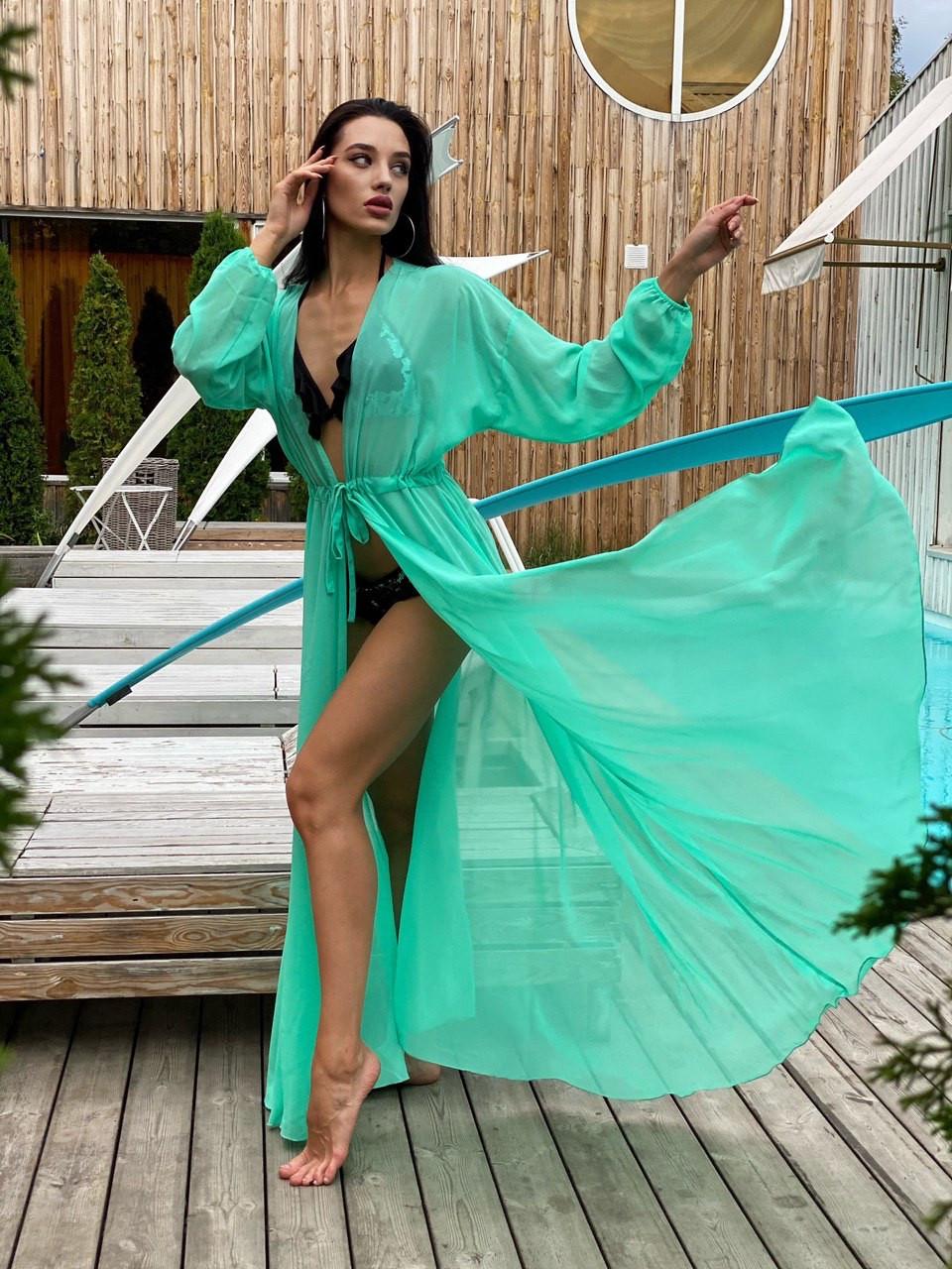 Пляжная туника-халат  с рукавами мята