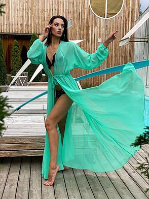 Пляжная туника-халат  с рукавами мята, фото 2