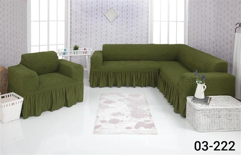 Чехол на угловой диван и кресло с оборкой, натяжной, жатка-креш, универсальный Concordia, Зеленый