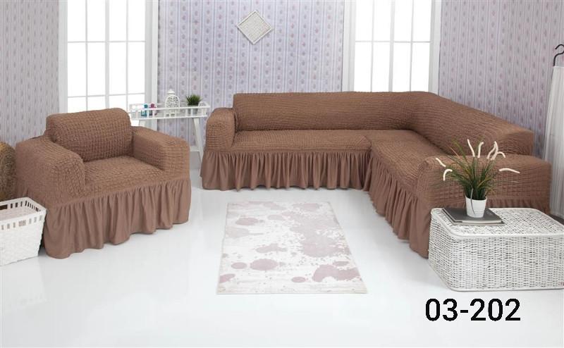 Чехол на угловой диван и кресло с оборкой, натяжной, жатка-креш, универсальный Concordia, Каппучино